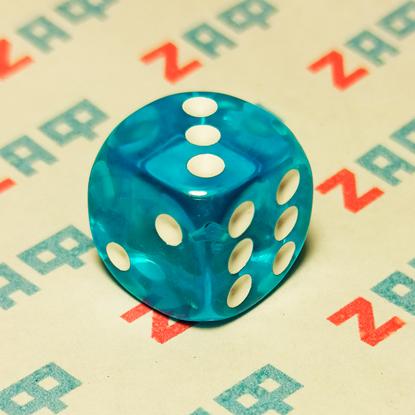 Игральные кости, 6 граней, синие, 16×16 мм, пластик