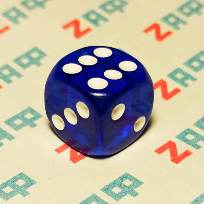Игральные кости, 6 граней, тёмно-синие, 16×16 мм, пластик