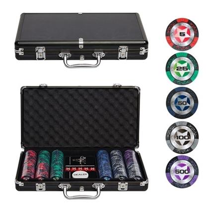 Покерный набор BLACK STARS, 300 фишек 14.5 грамм с номиналом в кейсе