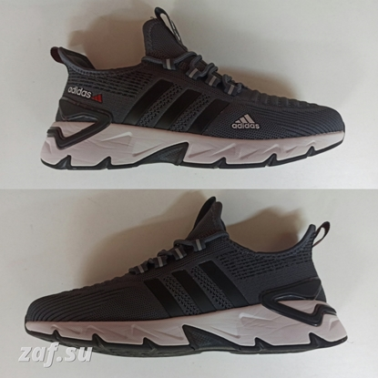 Мужские кроссовки ADIDAS Run FRNT-LBL Dark-Grey & Black & White, тёмно-серый/чёрный/белый