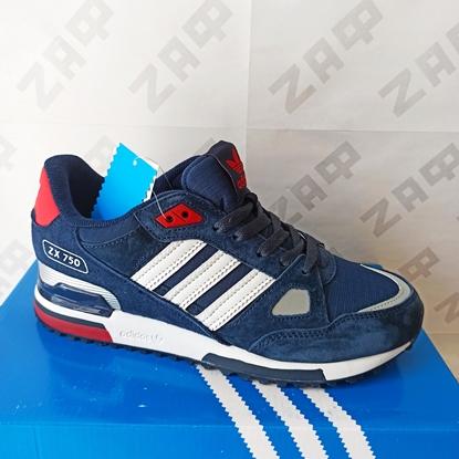 Мужские кроссовки Adidas Originals ZX-750 Navy & Red & White, тёмно-синий/красный/белый