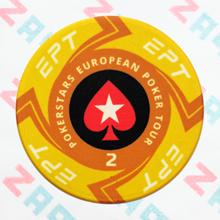 Керамические фишки EPT (PokerStars European Poker Tour), номинал 2